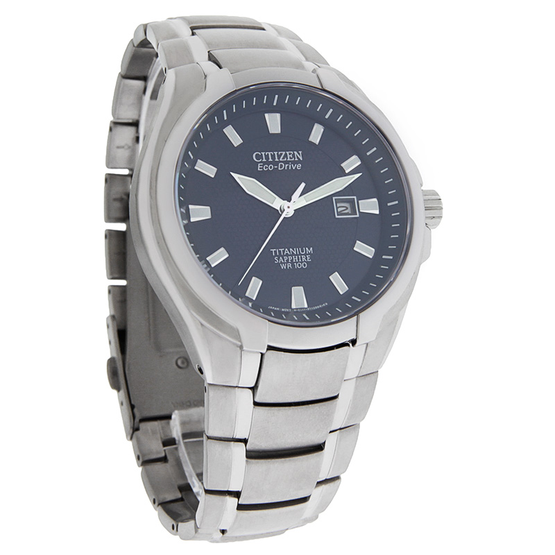 Citizen Eco Drive Mens Blue Dial Sapphire Titanium Dress