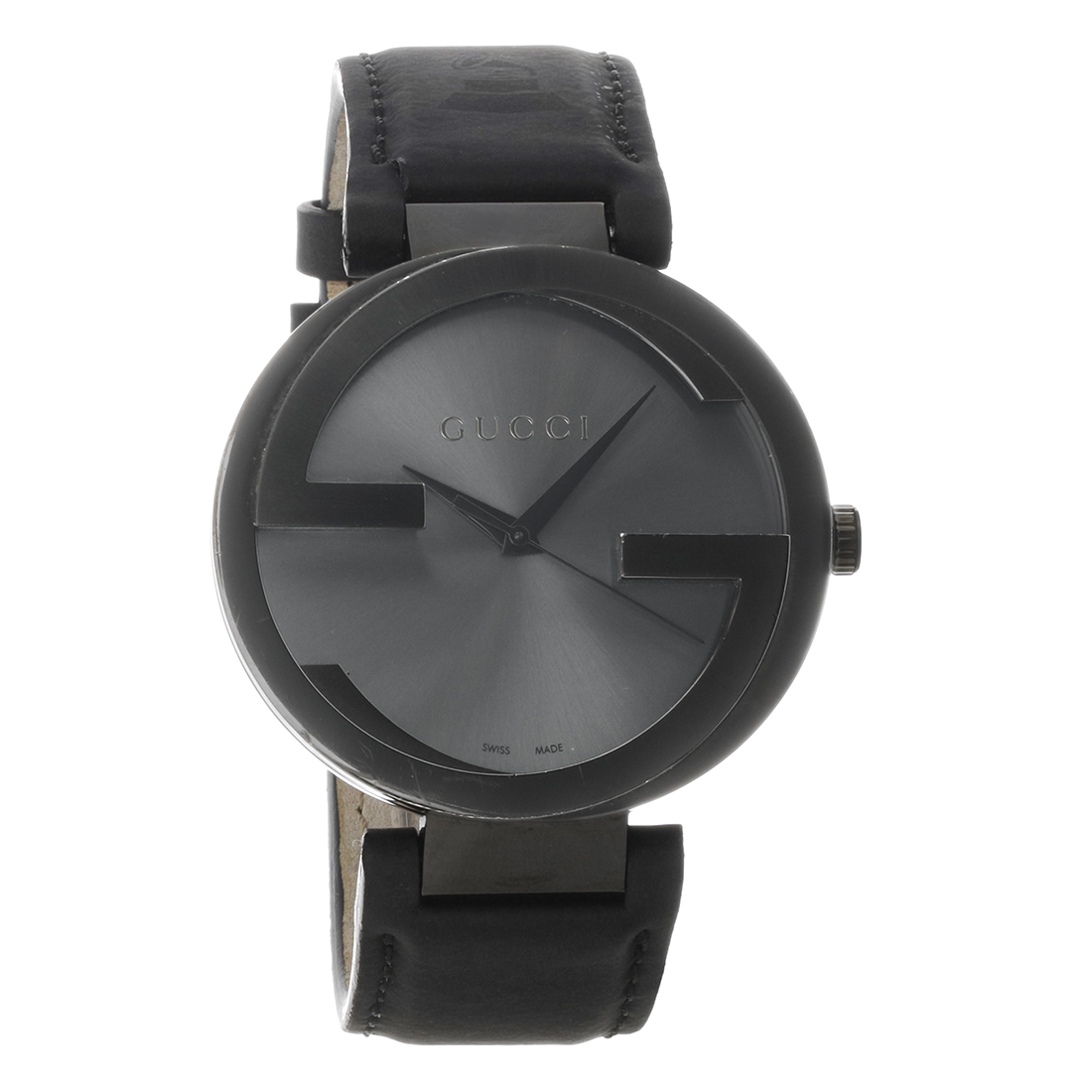 c860b824da1 Gucci 133 Interlocking G Series Black Leather Strap Quartz Watch YA133206
