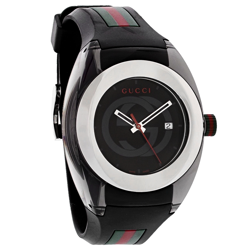 21f61aaddfa Gucci 137 Sync XXL Mens Black Red Green Rubber Strap Swiss Quartz Watch  YA137101