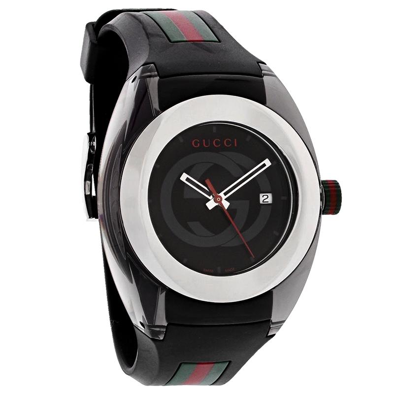 1dbece672e3 Gucci 137 Sync XXL Mens Black Red Green Rubber Strap Swiss Quartz Watch  YA137101