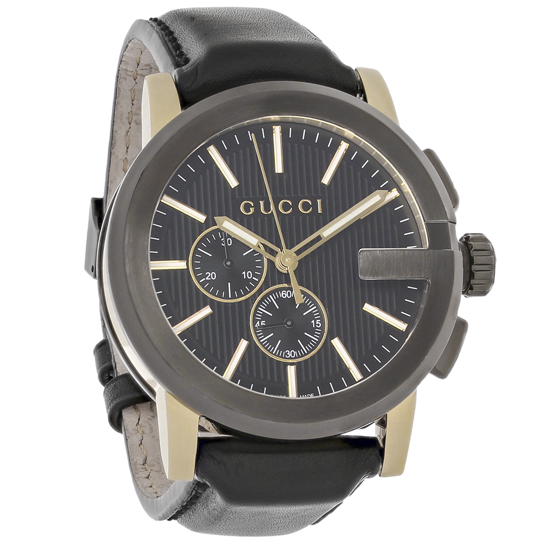 d1d52d64eab Gucci 101 G-Case Mens Black Leather Swiss Quartz Chronograph Watch YA101203