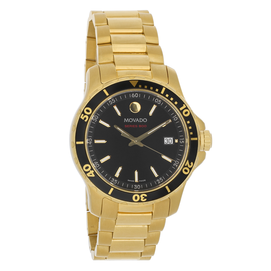 015df3349a6 Movado Series 800 Mens Black Dial Stainless Steel Swiss Quartz Watch 2600145