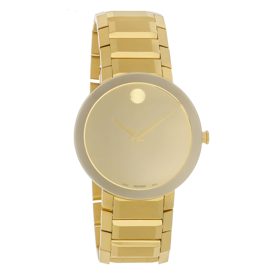 4e42648ec32 Movado Sapphire Mens Gold Plated Stainless Mirror Dial Quartz Watch 0607180