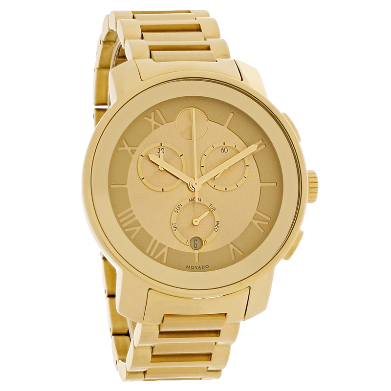 2e11076df83 Movado Bold Ladies Champagne Dial Gold Tone Swiss Chronograph Watch 3600209