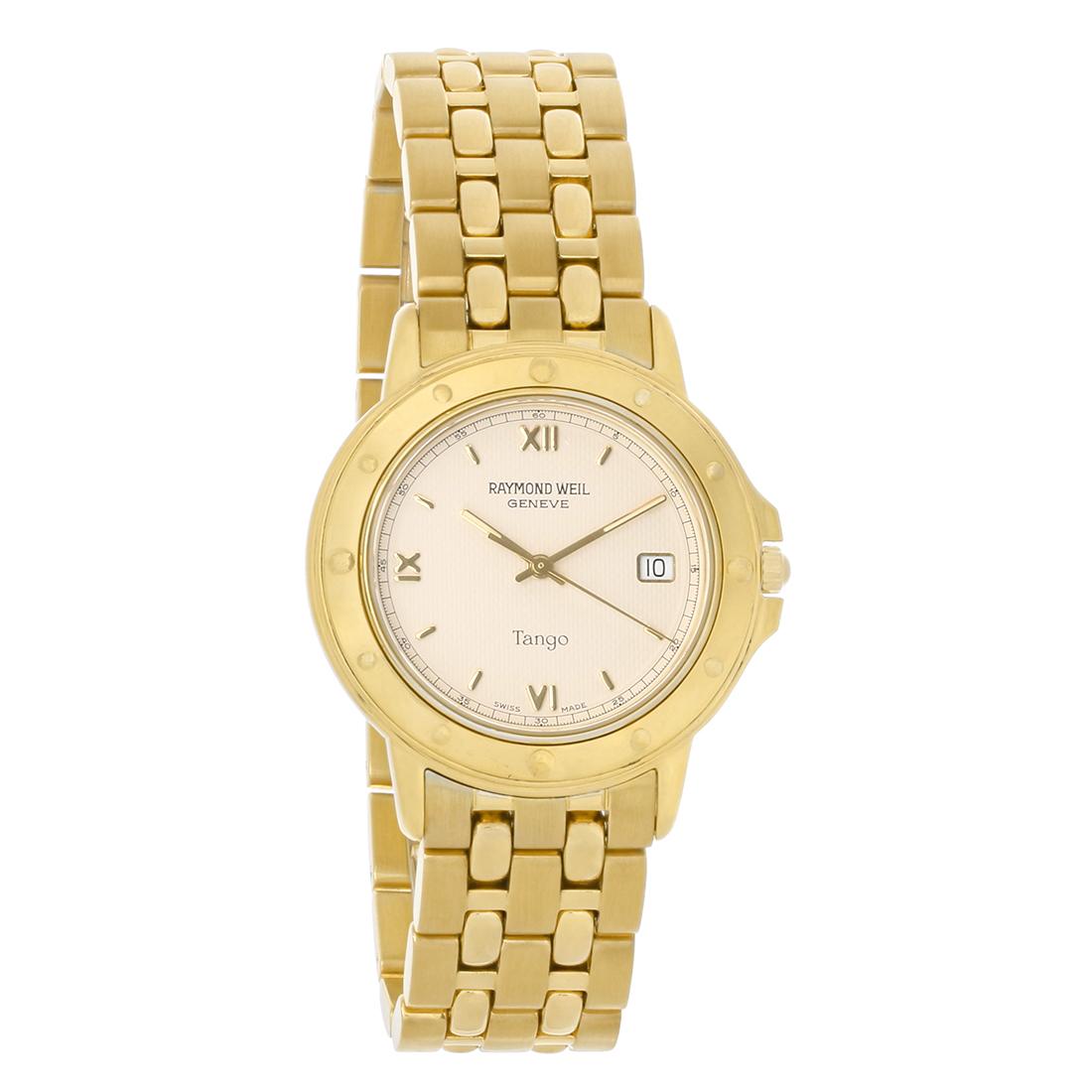 df51e39b86a Raymond Weil Tango Mens Gold Plated Stainless Steel Swiss Quartz Watch  5560-G-WI