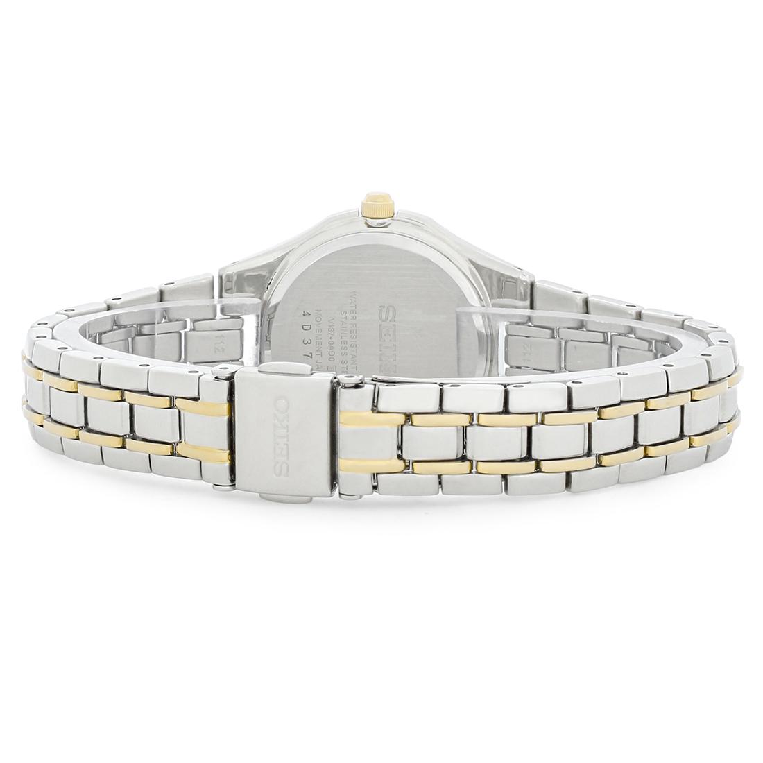 d1f91ba622f Seiko Solar Ladies MOP Diamond Two Tone Bracelet Watch SUT068 ...