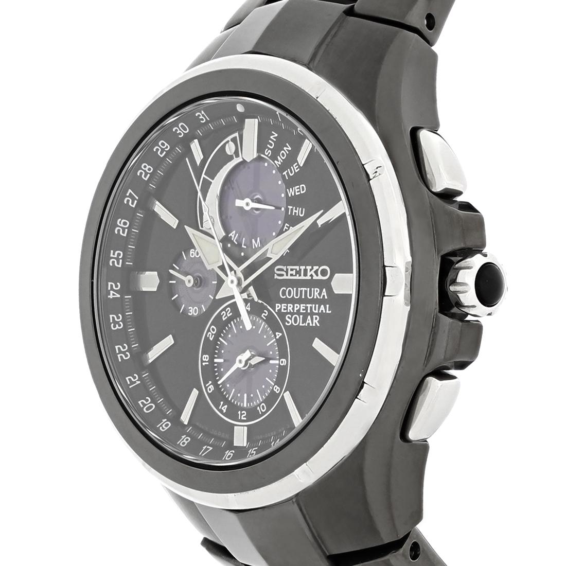 seiko coutura mens solar perpetual calendar chronograph watch ssc377