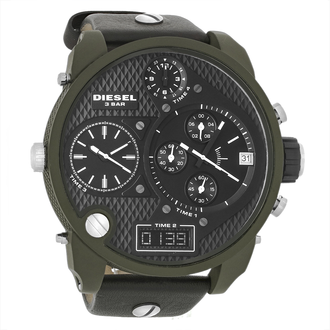 diesel mens big daddy black dial chronograph quartz watch. Black Bedroom Furniture Sets. Home Design Ideas