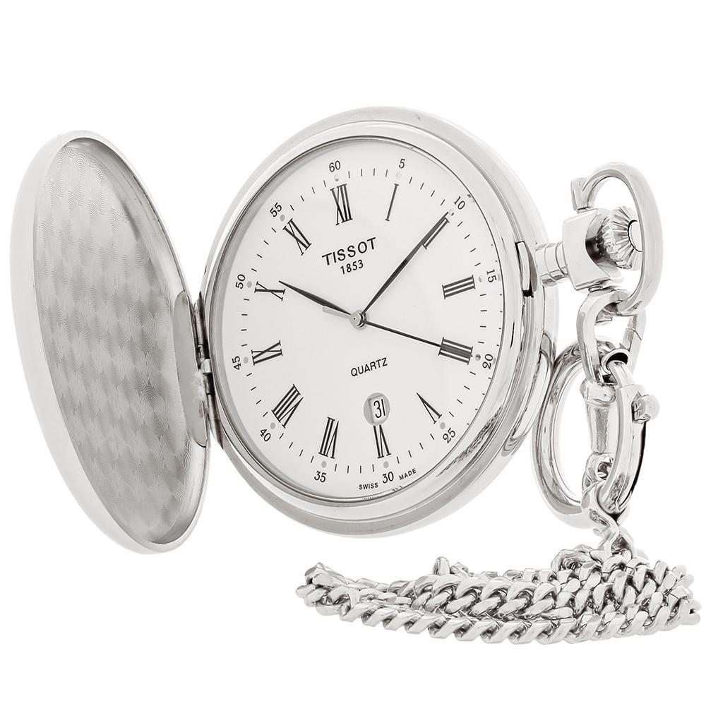 15fba1b79ff Tissot Savonnettes White Dial Swiss Quartz Pocket Watch T83.6.553.13 ...