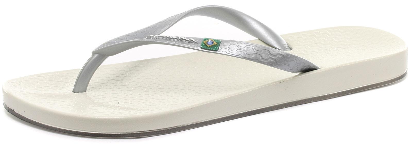 Ipanema Brasil Flip Beach White/Silver Womens Beach Flip Brasil Flops Size () d86801