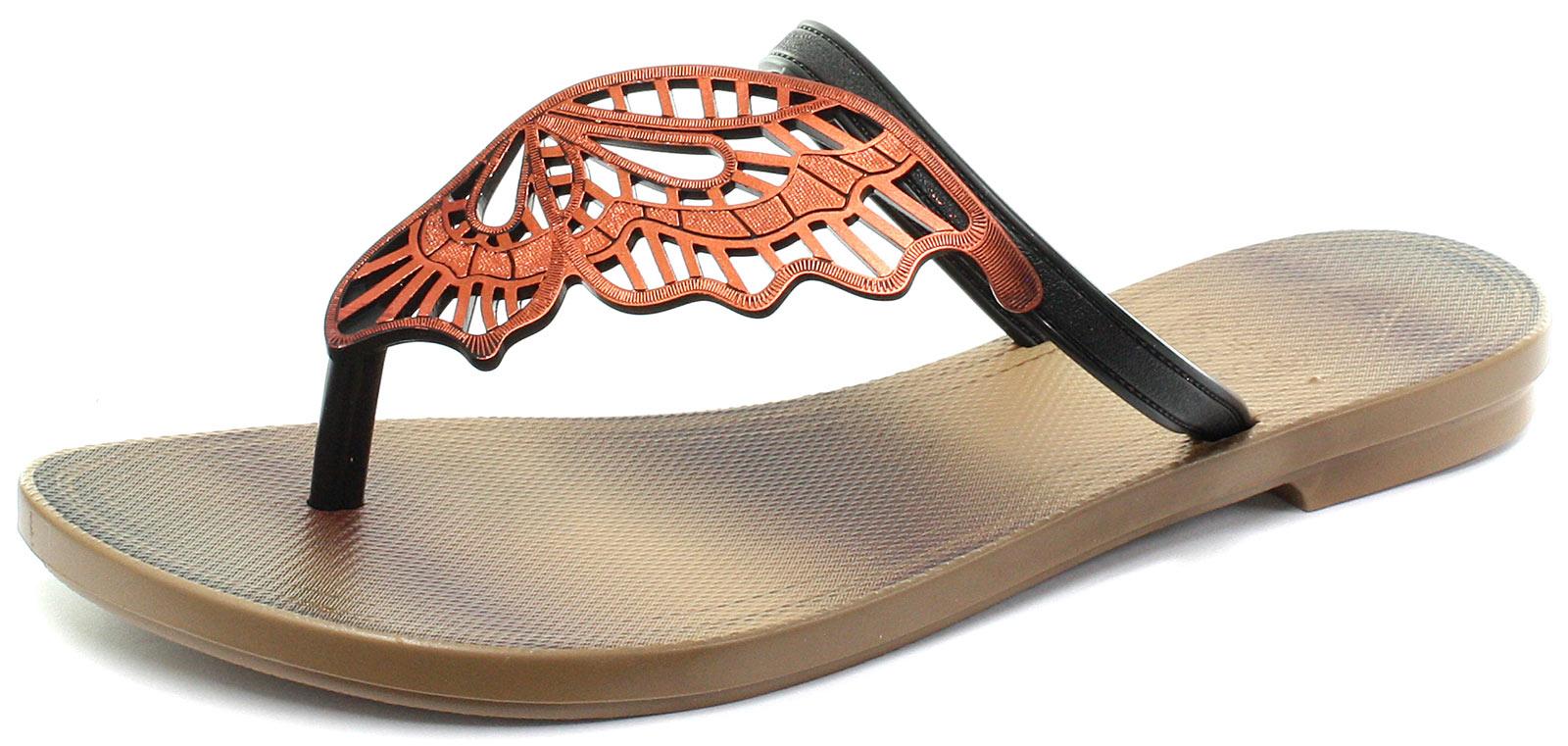 c4948c327 Grendha Ladies Butterfly Thong Flip Flops - Black - Sizes 3 4 5 6 7 ...