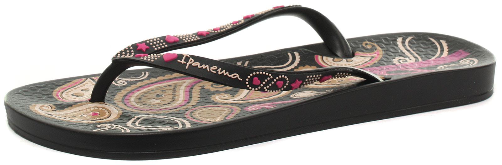 0e98e234328b7 IPANEMA BRASIL LOVELY V Black Womens Flip Flops Size UK 4 (EU 37 ...