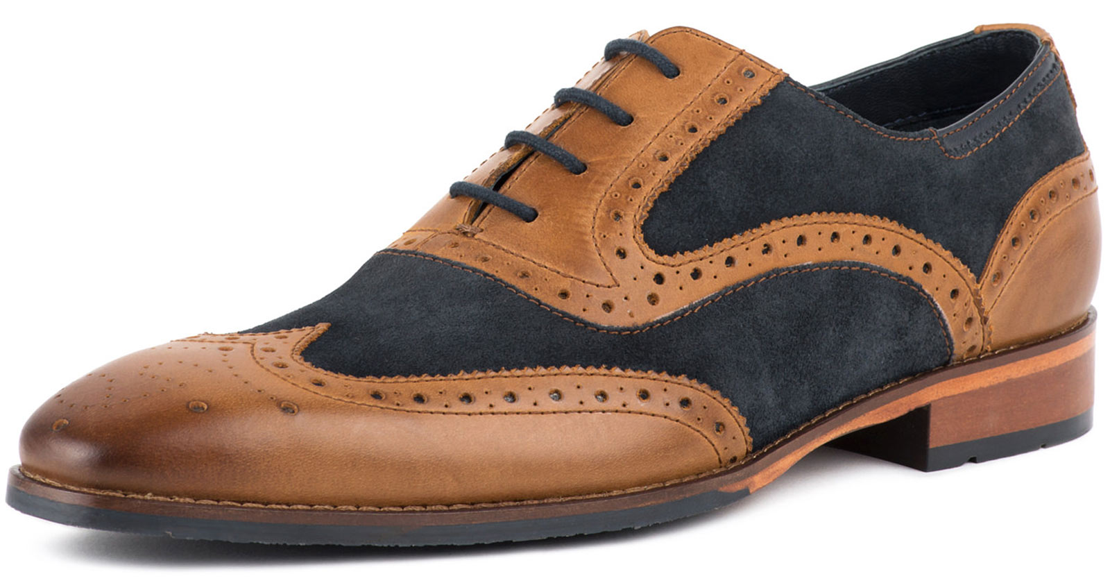 Goodwin Smith Kirk Tan Leather Navy Suede Mens Brogue shoes ALL SIZES