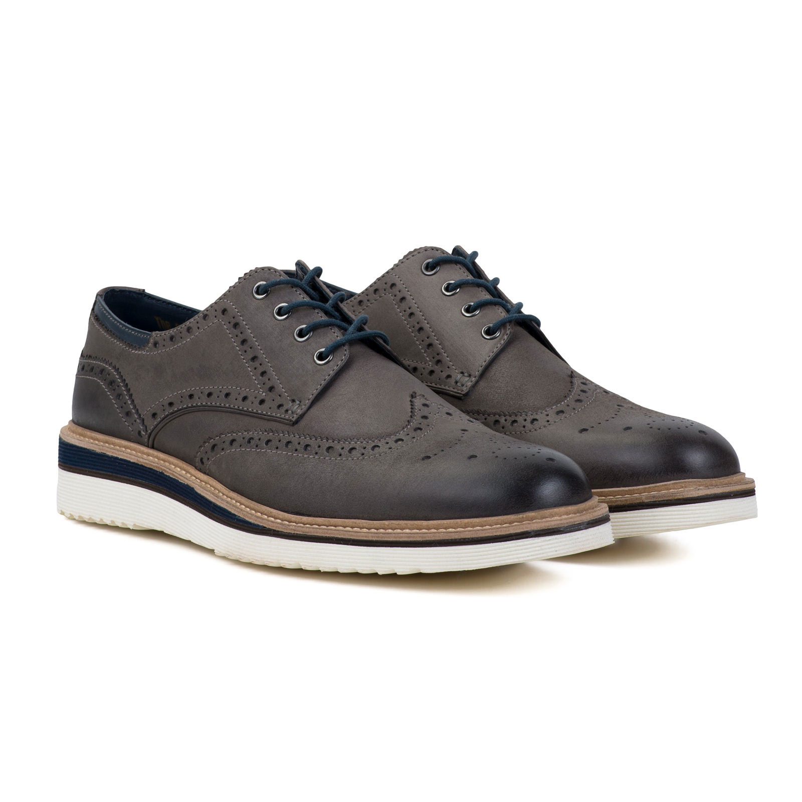 Goodwin Smith Grau Newton XL Keil Derby Grau Smith Herren Brogue Halbschuhe alle Größen 200cbd