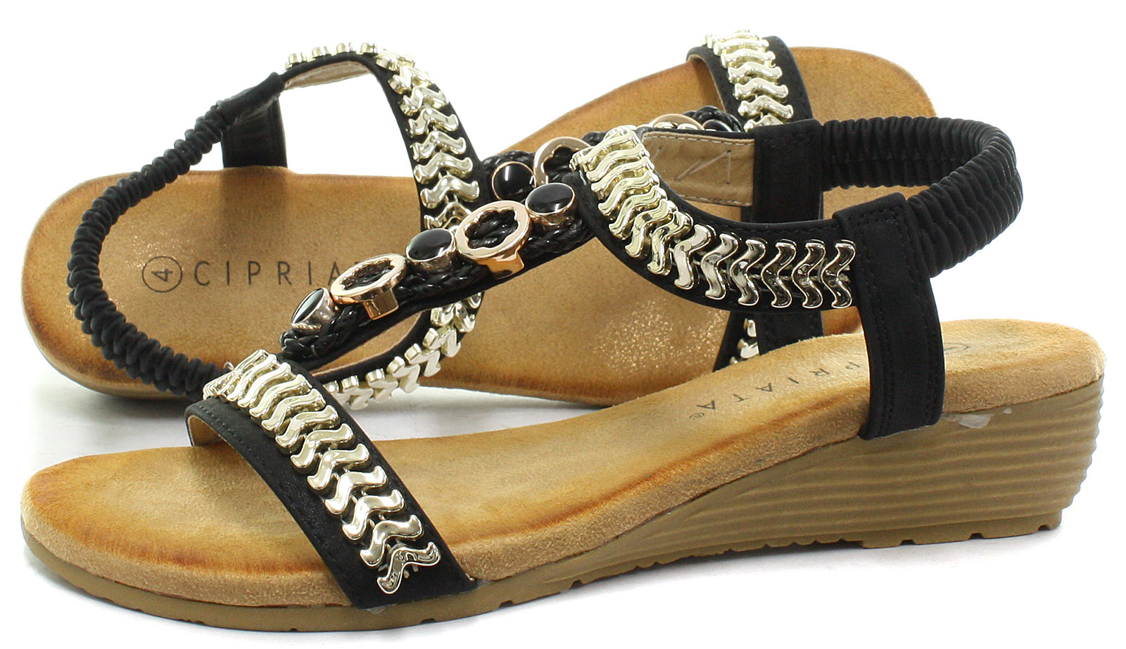 1dab78a6edff7 New Cipriata Camilla Black Womens Jewelled Sling Back Sandals ALL ...