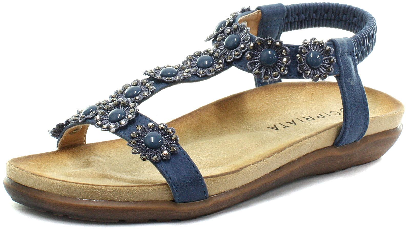 New-Cipriata-Giovanna-Navy-Flower-Womens-Halter-Back-Sandals-ALL-SIZES