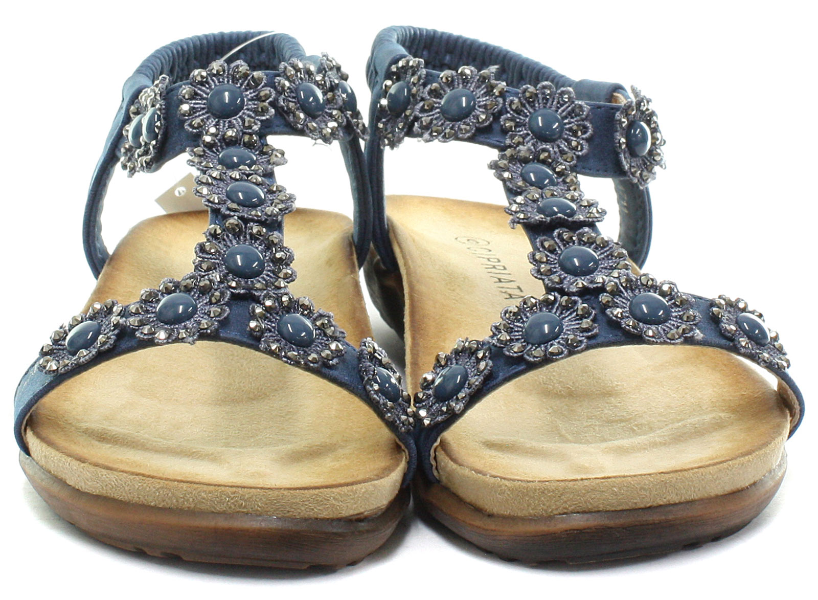 New-Cipriata-Giovanna-Navy-Flower-Womens-Halter-Back-Sandals-ALL-SIZES miniature 2