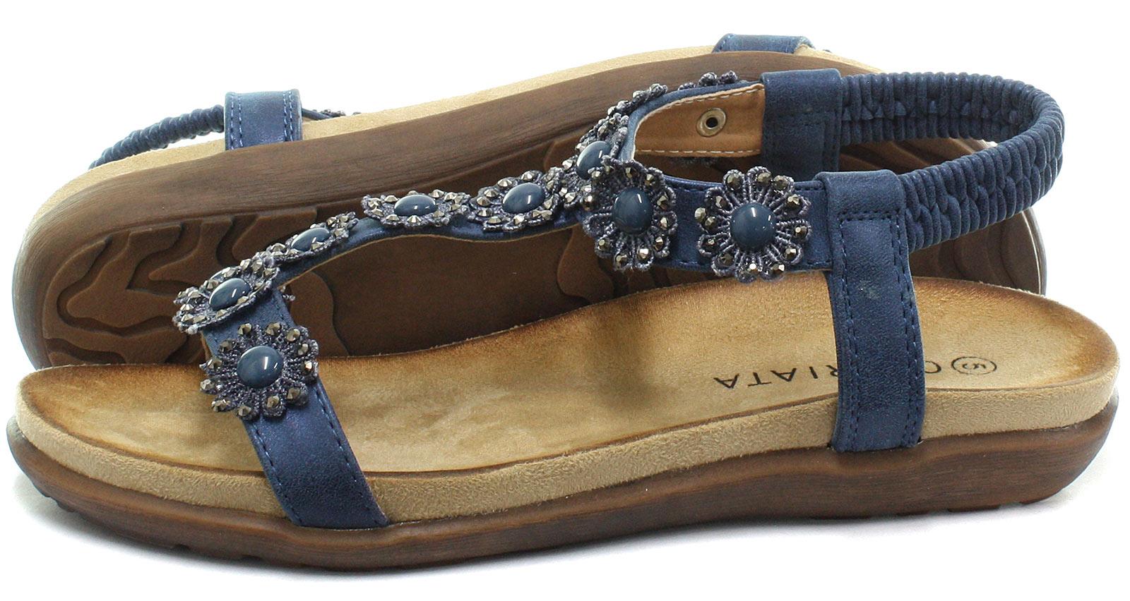 New-Cipriata-Giovanna-Navy-Flower-Womens-Halter-Back-Sandals-ALL-SIZES miniature 3