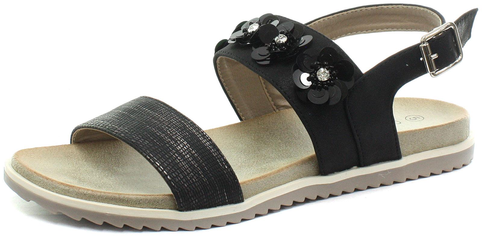 New-Cipriata-Angela-Black-Reptile-Print-Flower-Womens-Sandals-ALL-SIZES