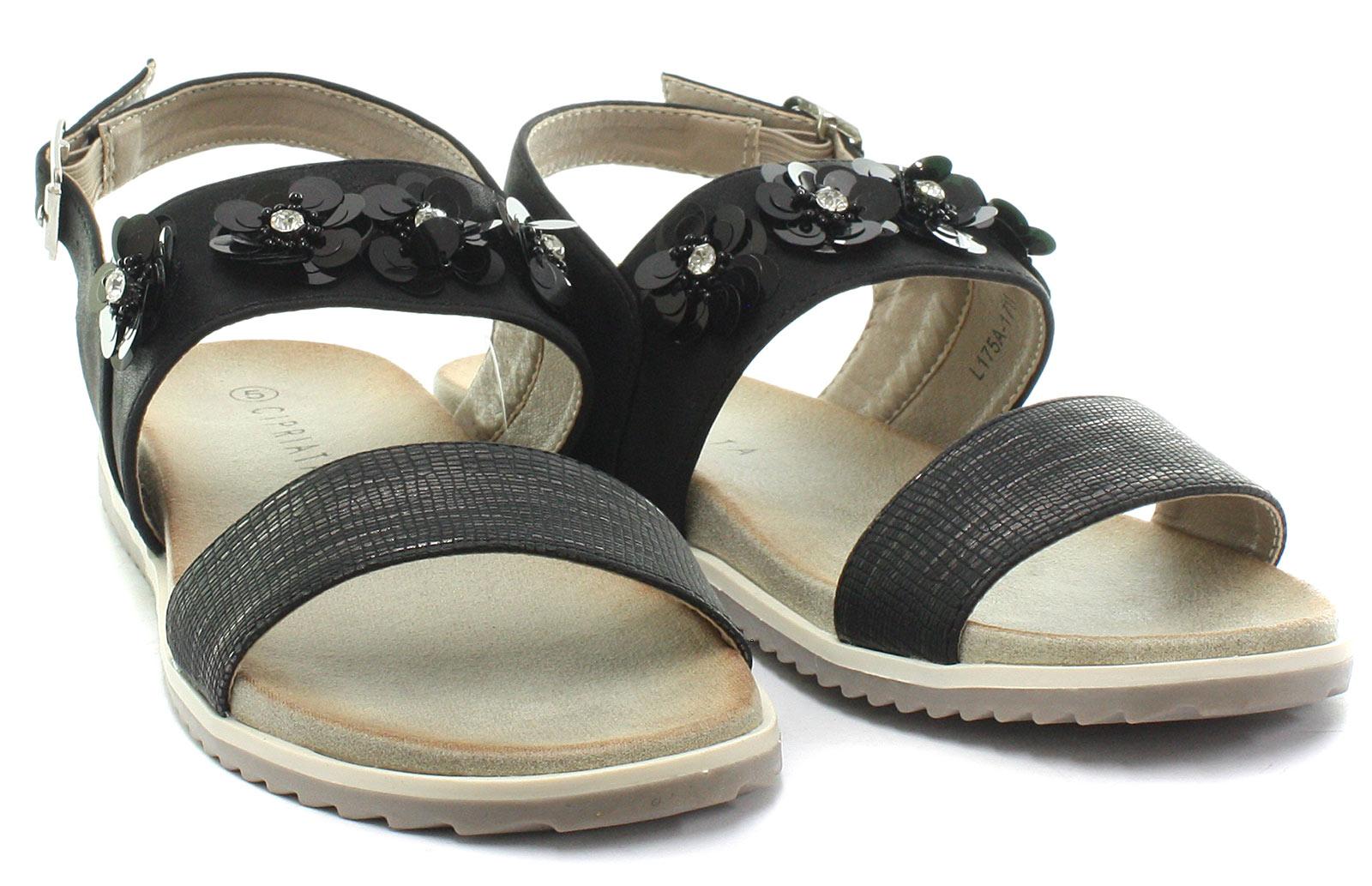 New-Cipriata-Angela-Black-Reptile-Print-Flower-Womens-Sandals-ALL-SIZES miniature 2