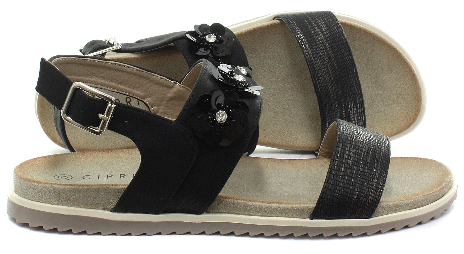 New-Cipriata-Angela-Black-Reptile-Print-Flower-Womens-Sandals-ALL-SIZES miniature 3