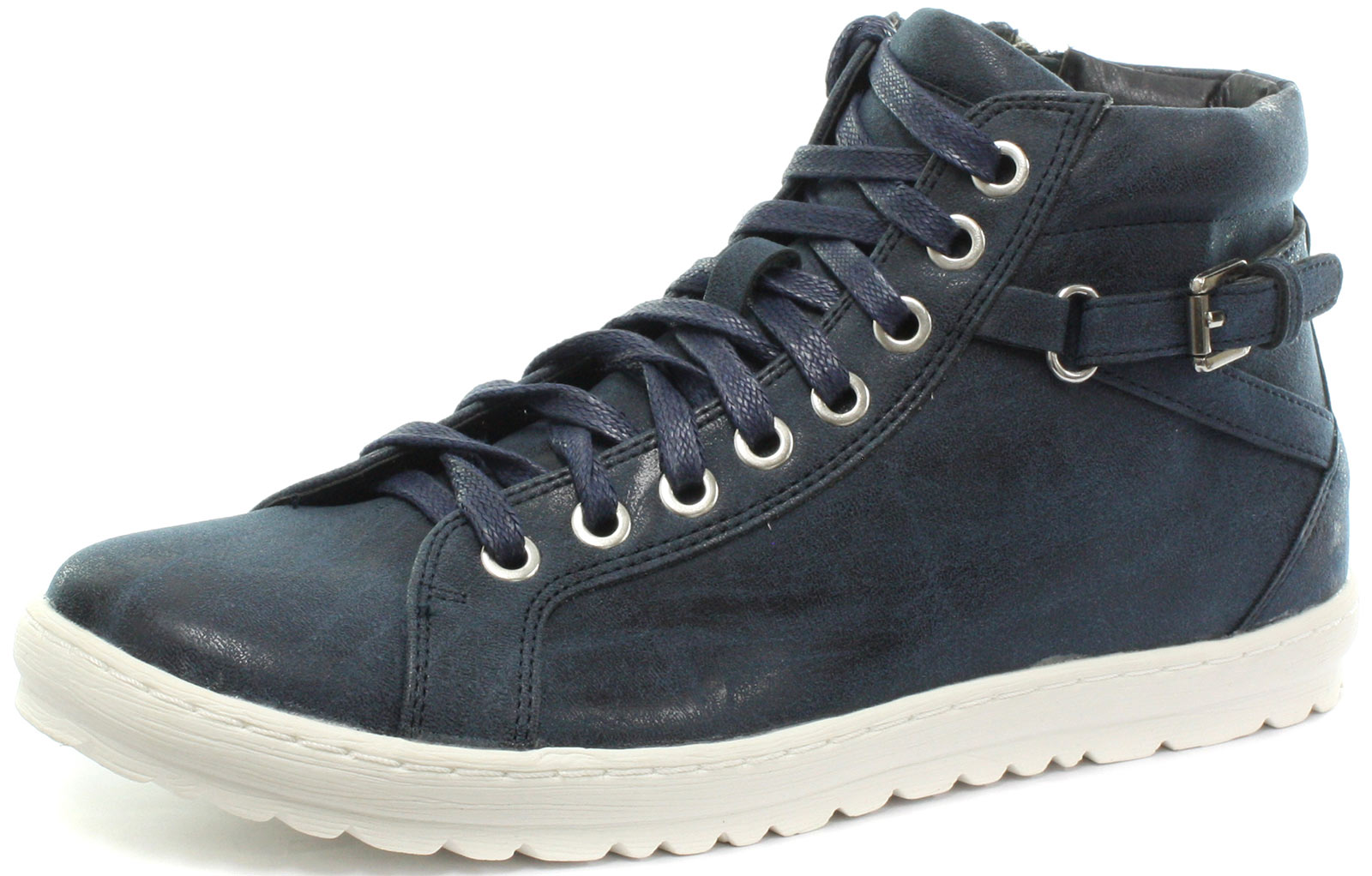 New Cipriata Octavia Navy Side Zip 8 Eye Womens Lace Up shoes ALL SIZES