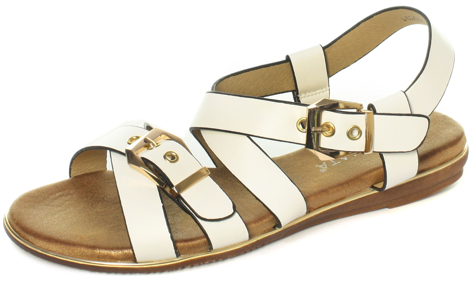 DF1716 Cipriata Womens//Ladies Dean Twin Buckle Crossover Sandal