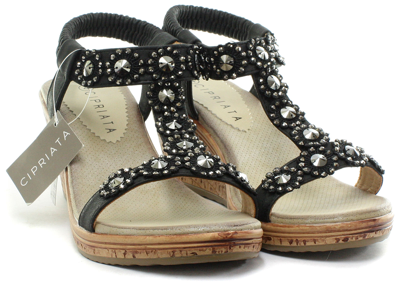 Cipriata-Flower-Trim-Womens-Halter-Back-Wedge-Sandals-ALL-SIZES-AND-COLOURS miniature 5