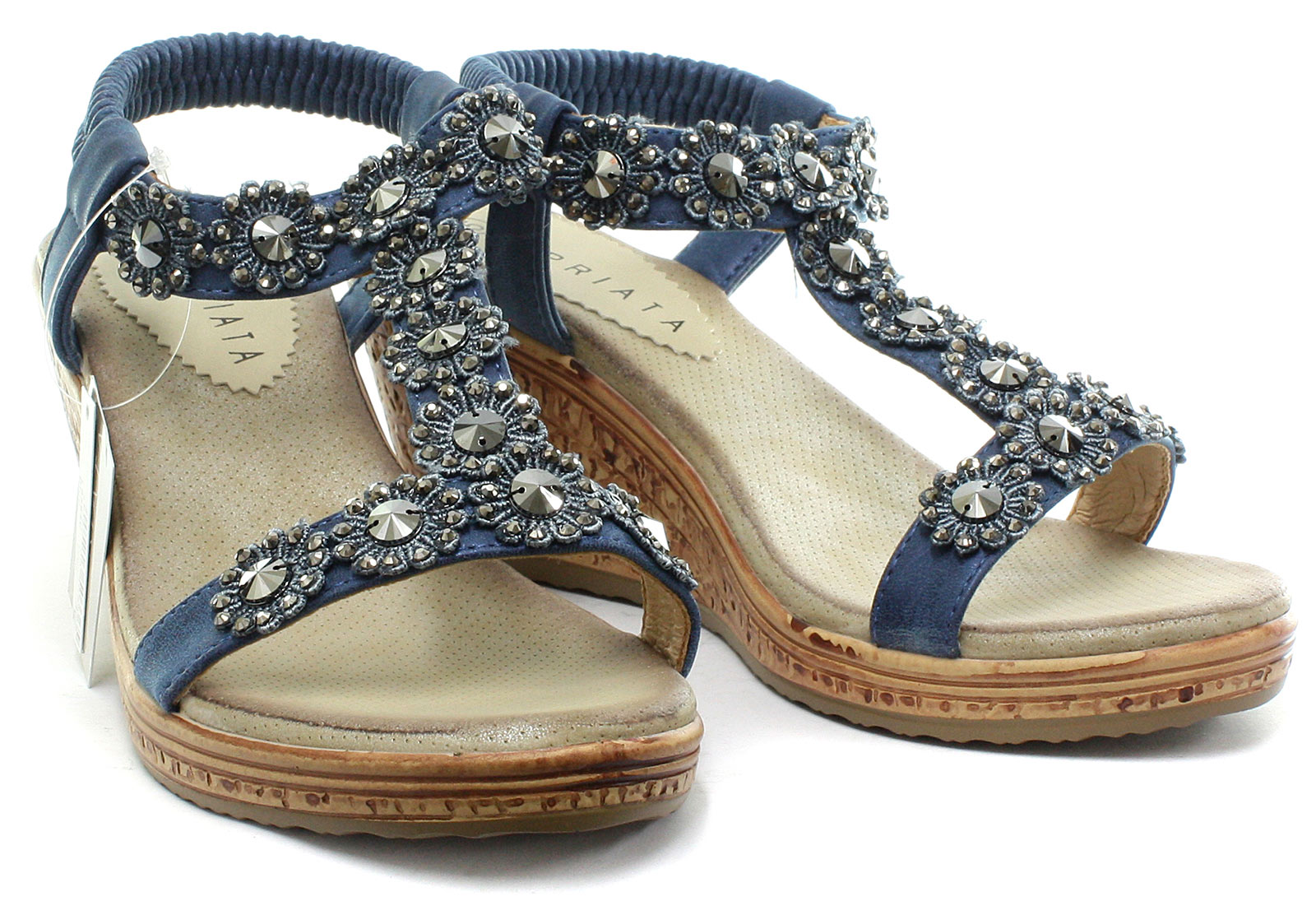 Cipriata-Flower-Trim-Womens-Halter-Back-Wedge-Sandals-ALL-SIZES-AND-COLOURS miniature 11