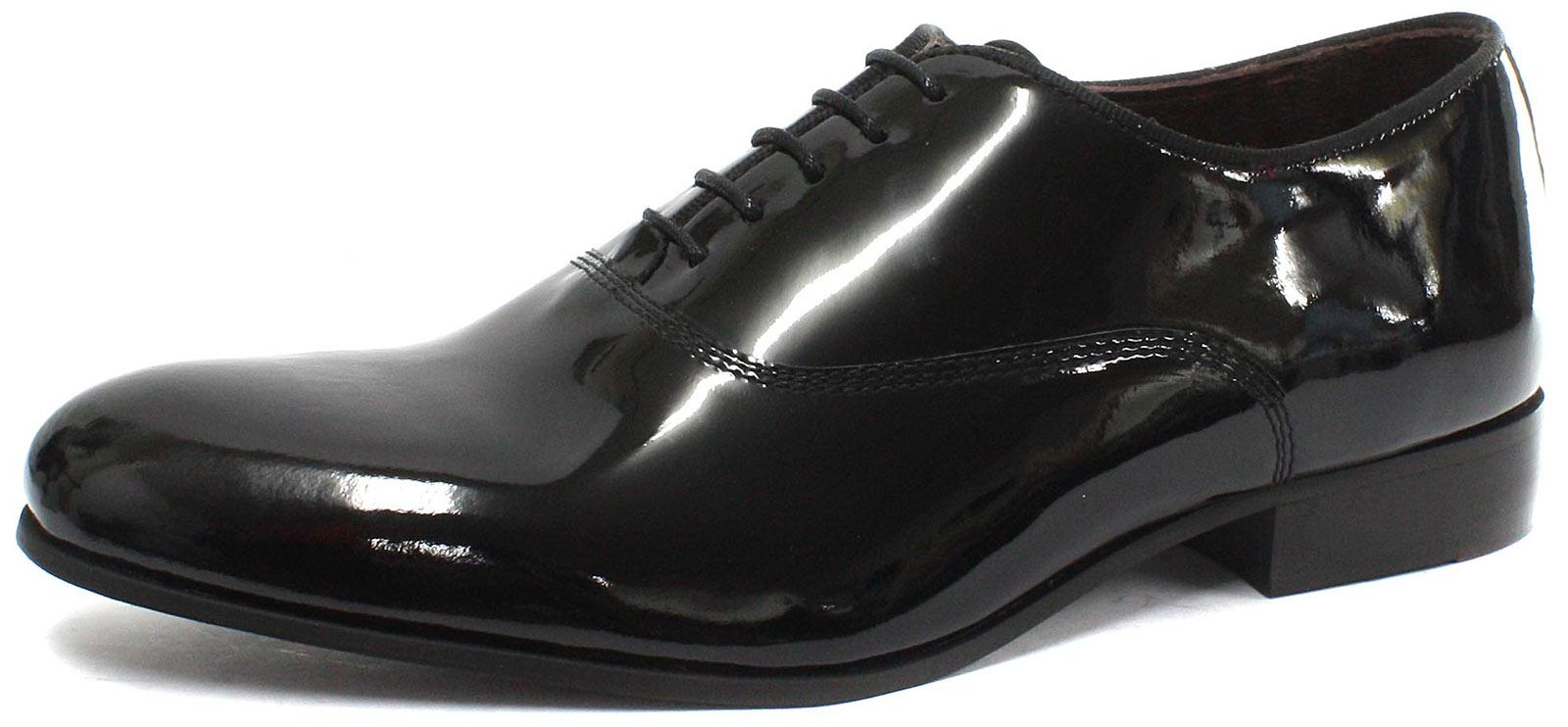 London Brogues Baxter schwarz Lack Herren Oxford Formelle Schuhe alle Größen