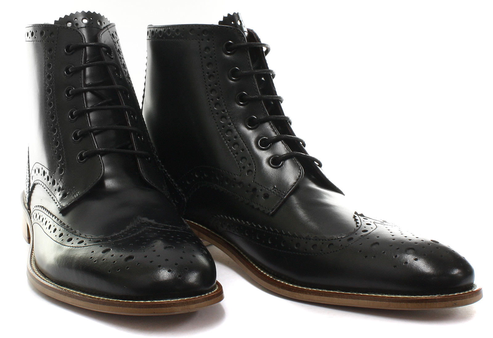 London Brogues Gatsby Hi Leather Mens Brogue Boots ALL SIZES AND COLOURS