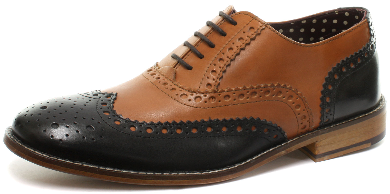e08aea18f7475 London Brogues Gatsby Leather Mens Brogue Shoes All Sizes and Colours UK 7  Tan/black