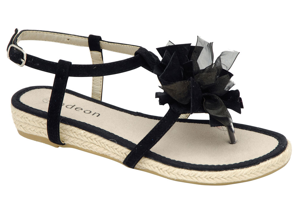 New Espadrille Odeon Womens Black Flower Espadrille New Thong Sandals ALL SIZES 2307ed