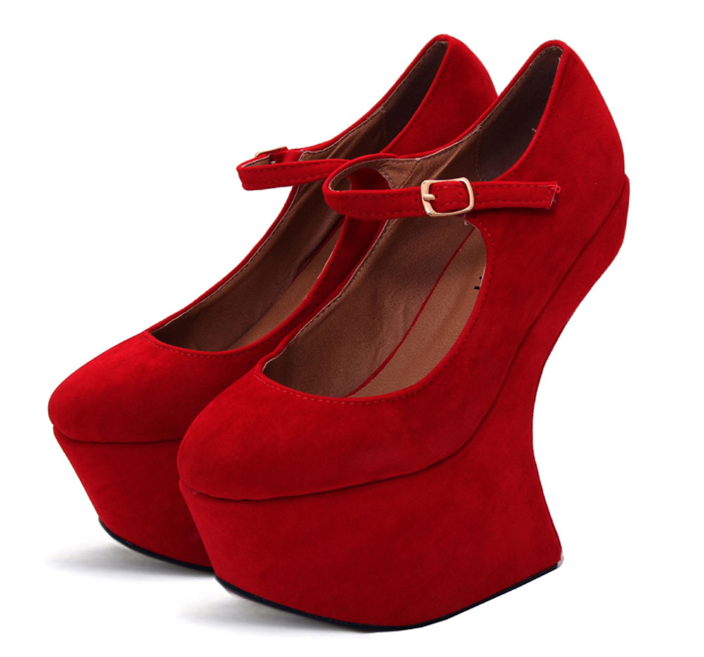 b363c04881fb Odeon Red Faux Suede Mary Jane Heel Less Platform Wedge Shoes All Sizes