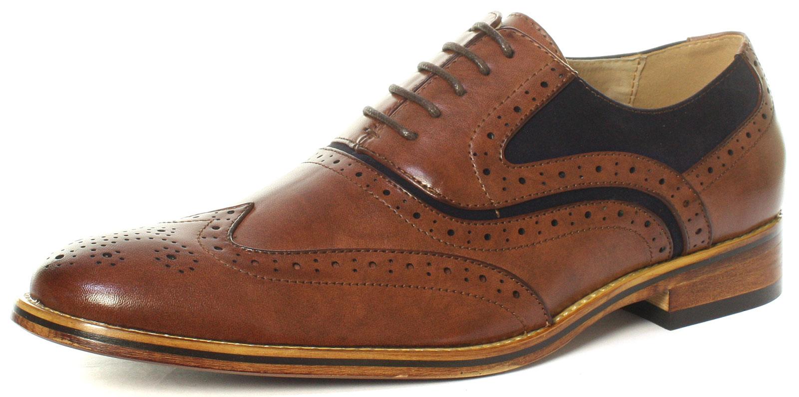 Brown/Navy Mens Oxford Brogue Shoes