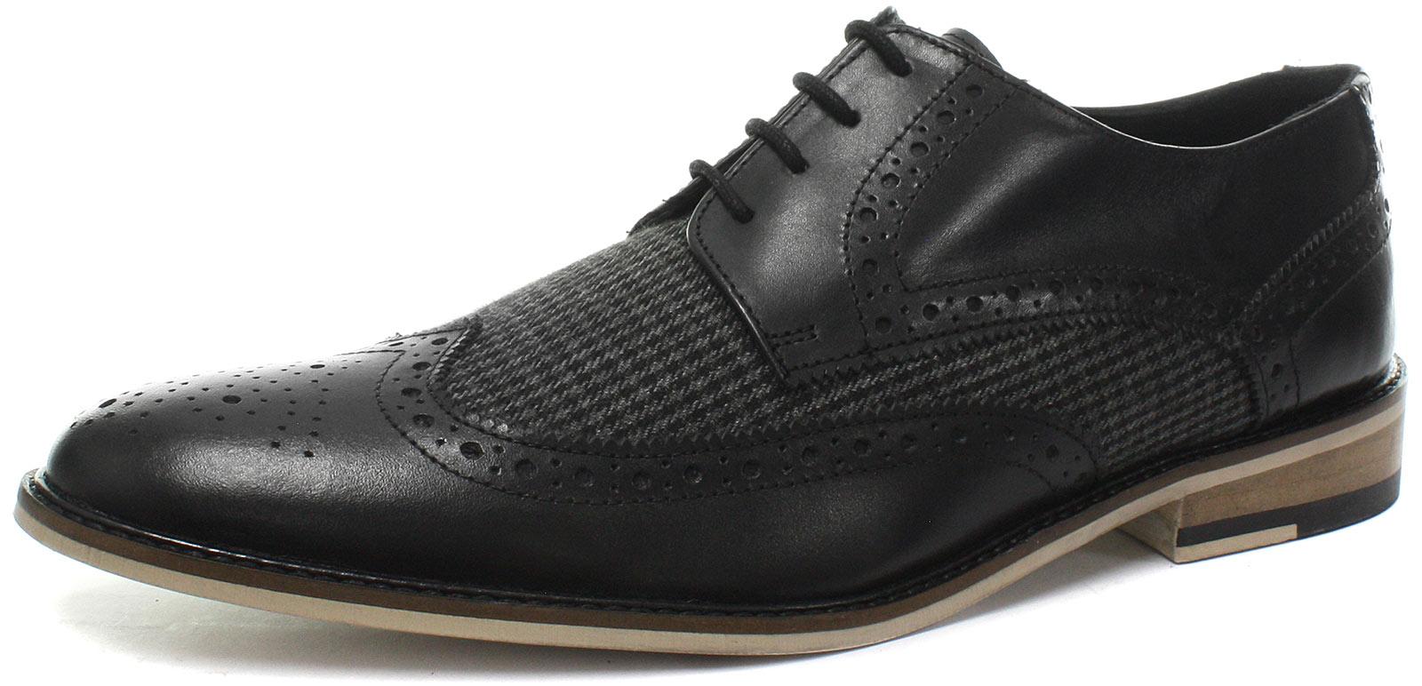 New Roamers 4 Eye Mens Wing Cap Gibson Black Mens Eye Brogue Shoes ALL SIZES b4b7f7