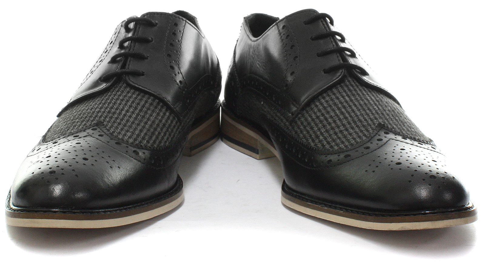 New-Roamers-4-Eye-Wing-Cap-Gibson-Black-Mens-Brogue-Shoes-ALL-SIZES miniature 2