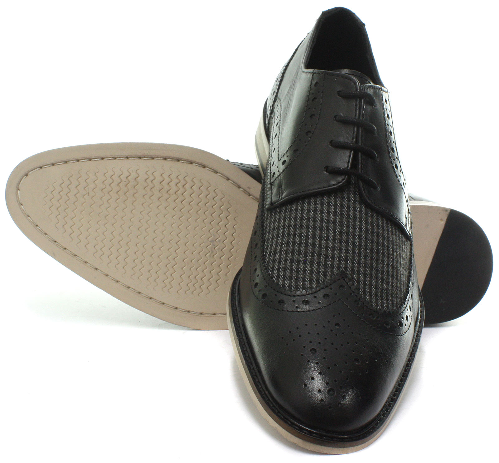 New-Roamers-4-Eye-Wing-Cap-Gibson-Black-Mens-Brogue-Shoes-ALL-SIZES miniature 3