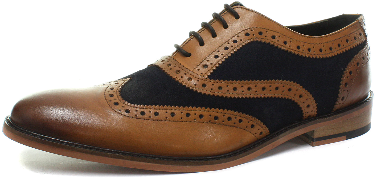 New Tan Eye navy 5 Oxford Tutte Mens misure le Roamers Brogue Shoes rWapnr