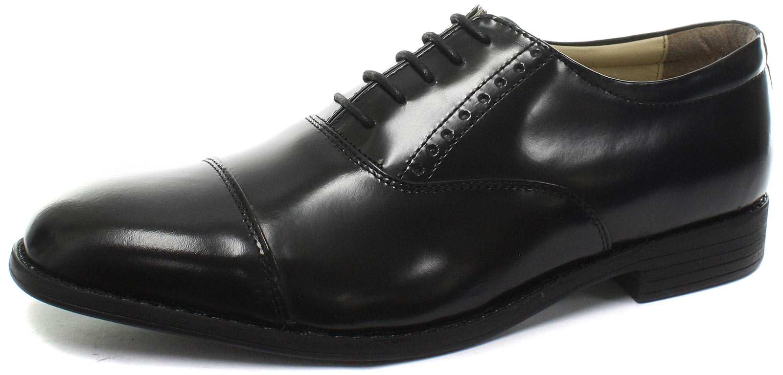 New TredFlex Hi-Shine Toe Cap Oxford Black Mens Lace Up Shoes ALL SIZES