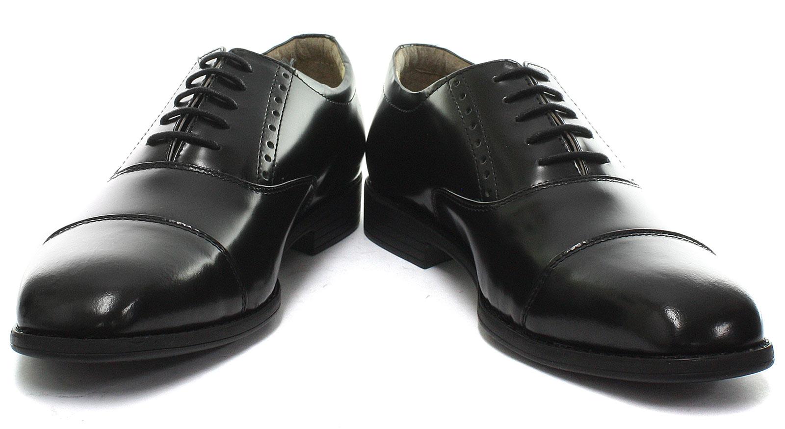 New-TredFlex-Hi-Shine-Toe-Cap-Oxford-Black-Mens-Lace-Up-Shoes-ALL-SIZES miniature 2