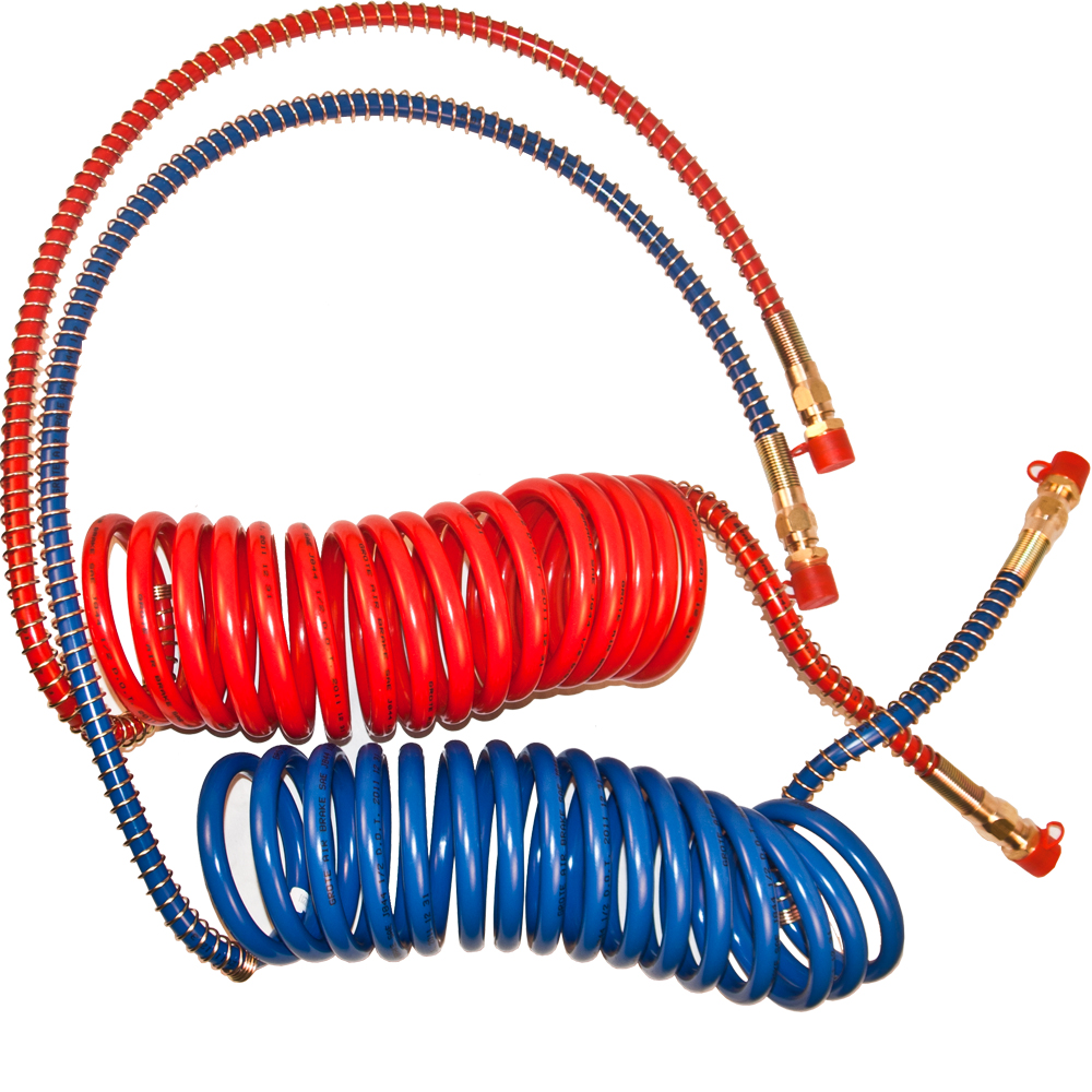 COILED AIR SET LINE ASSEMBLY RED /& BLUE TRUCK TRAILER BRAKE COIL SET 15 LENGTH; 1 X 12 /& 1 X 40 LEADS