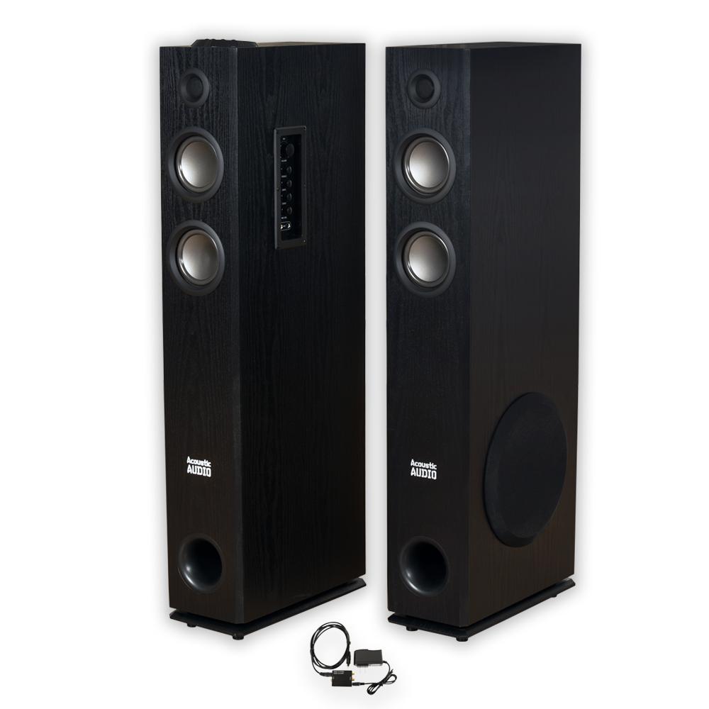 acoustic audio tsi400 bluetooth powered floor tower speakers optical in tsi400d ebay. Black Bedroom Furniture Sets. Home Design Ideas