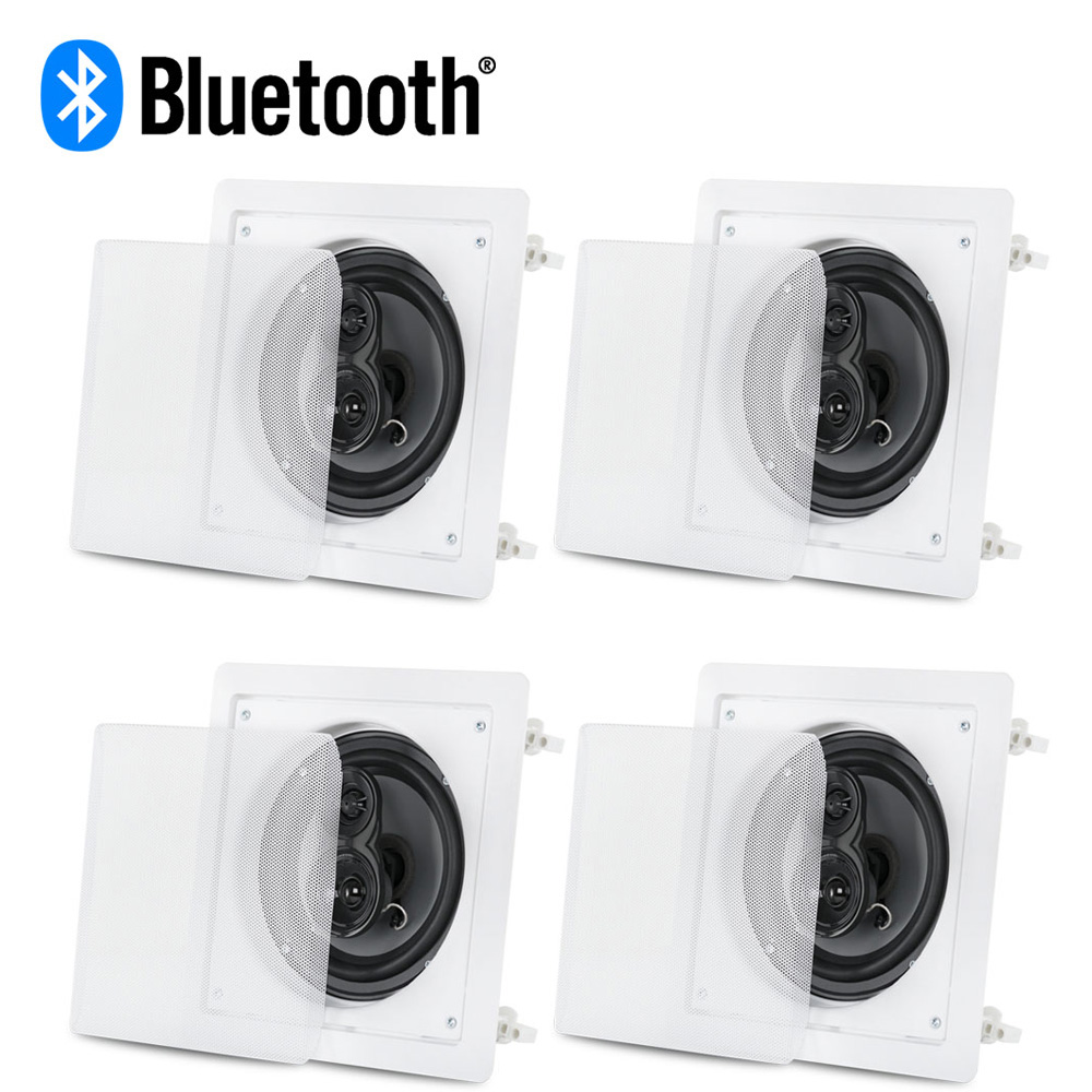"Acoustic Audio CS-IC63 Bluetooth 3-Way In Ceiling 6.5/"" Powered 4 Speaker Set"