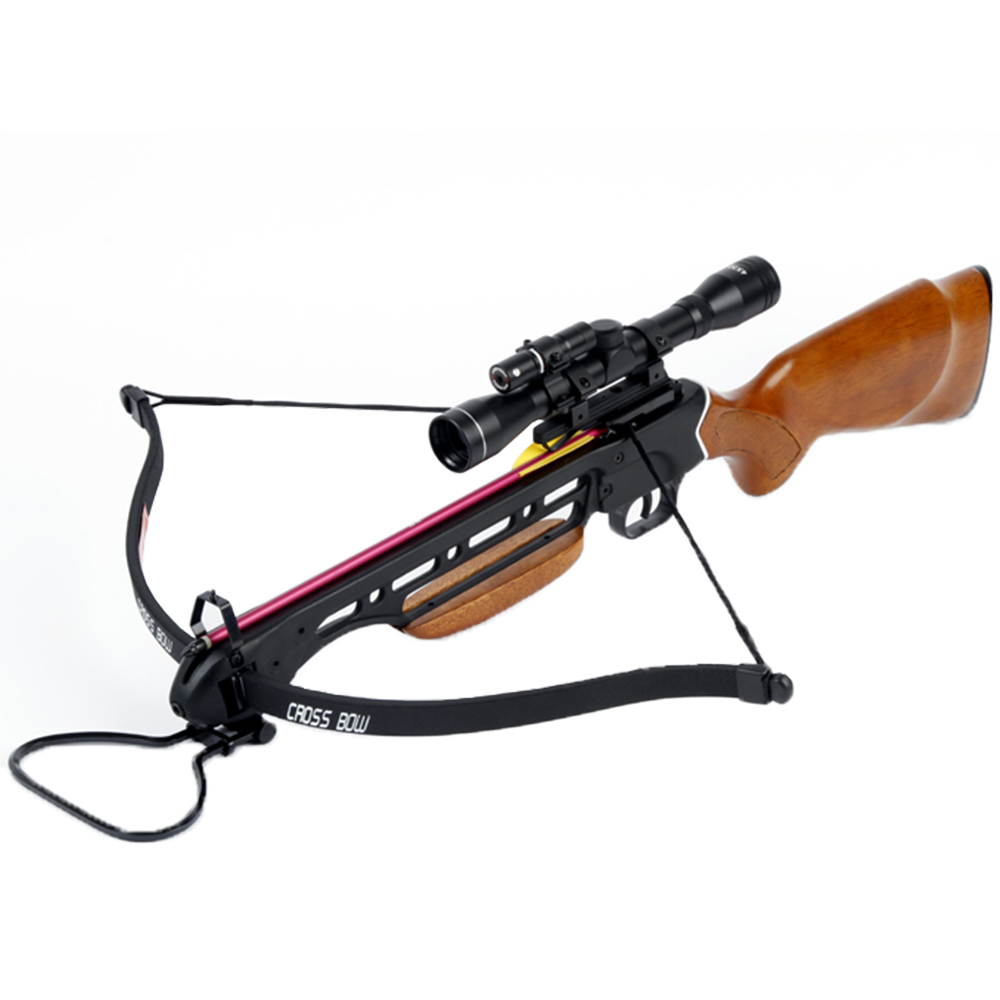 150 lb wood hunting crossbow archery bow 4x20 scope 7 for Compound bow fishing