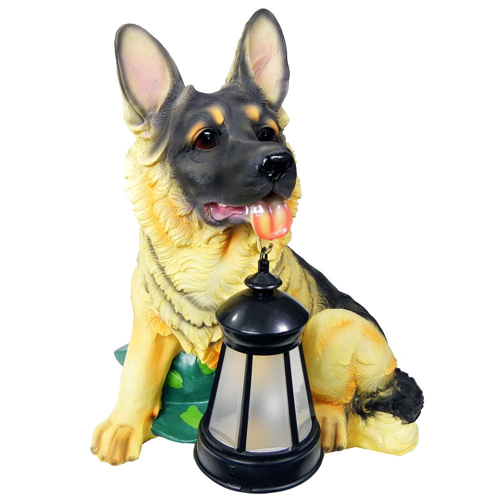 2 Outdoor Garden Solar German Shepherd Dog Led Lantern