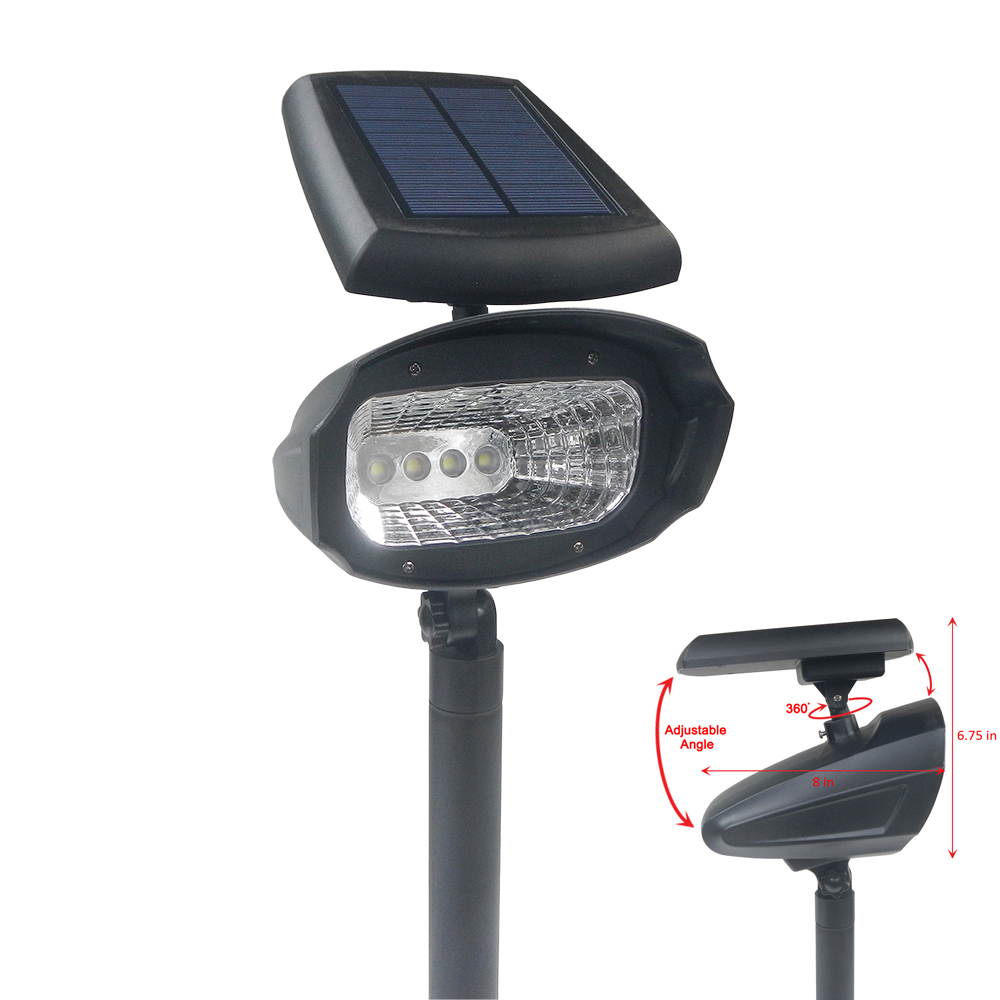 4 pack outdoor 4 smd led solar landscape path spot flood lights lamp post yard