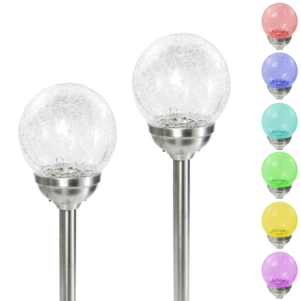 2 Colour Changing Led Stainless Steel Solar Stake Lights: 6 Large Stainless Steel Solar Crackle Glass Ball Path