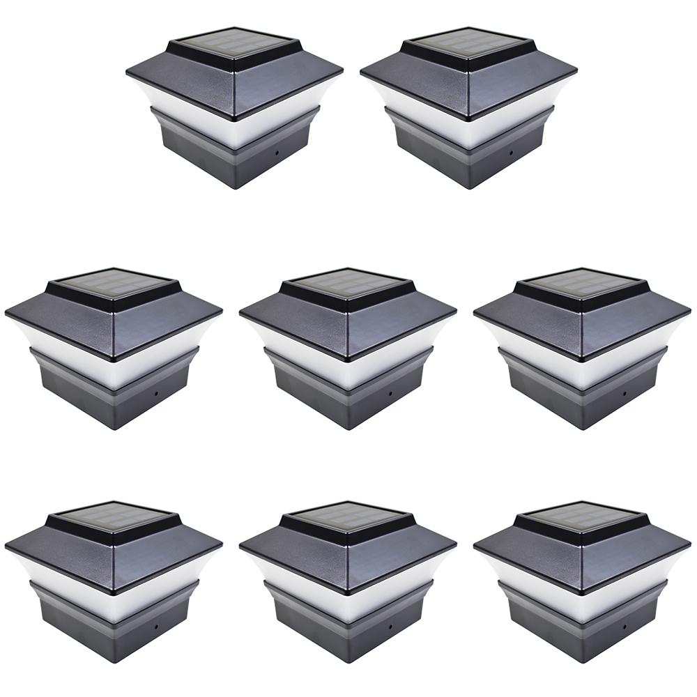 8-Black-Brown-Silver-White-4-x-4-Solar-Post-Deck-Cap-Fence-Light-PVC-Vinyl
