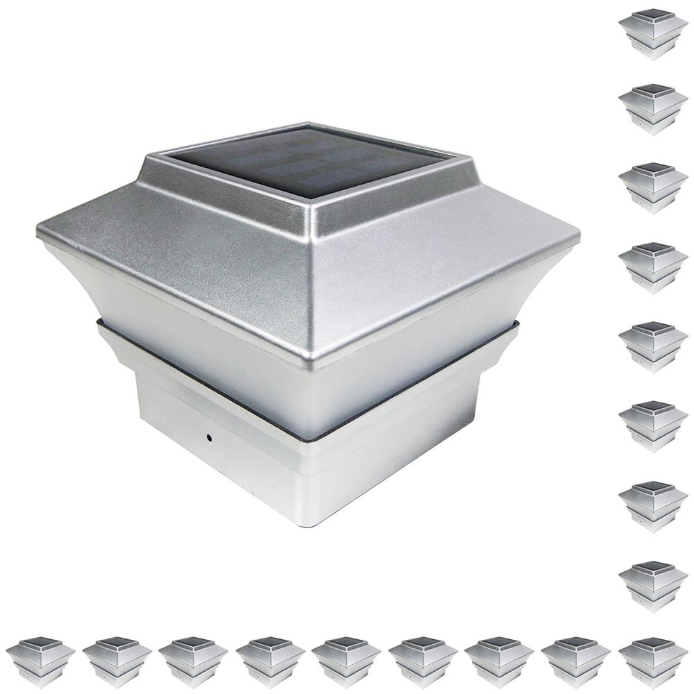 18 Black Brown Silver White 4x4 Solar Post Deck Cap Fence Light Pvc Vinyl Ebay